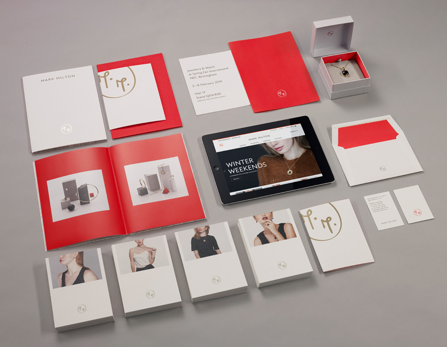 Logo, stationery and print with gold and red spot colour detail designed by ico for jewellery brand Mark Milton