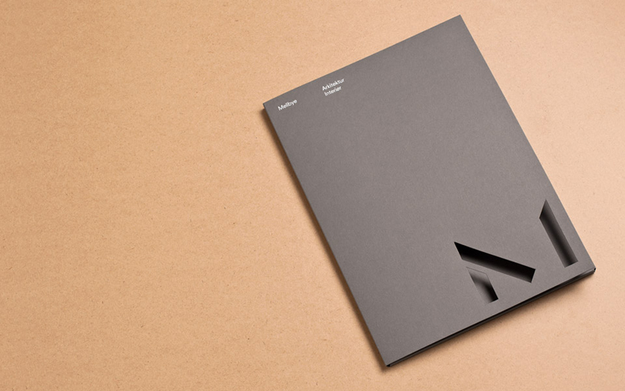 Logo and folder with detail designed by Heydays for architecture firm Mellby
