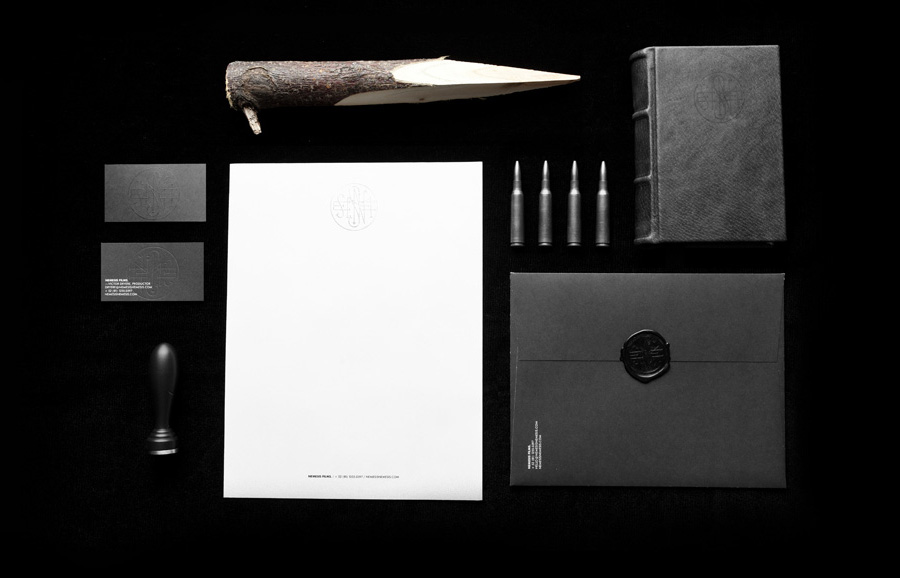 Logo and stationery with blind emboss and wax detail designed by Anagrama for Latin American horror film production company Nemesis Films