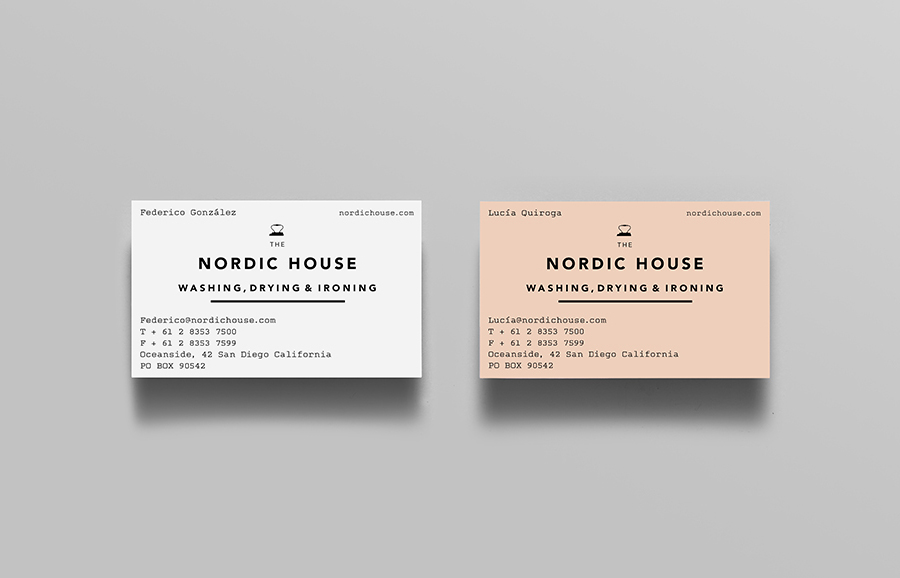 Logotype and business card designed by Anagrama for dry cleaning shop Nordic House