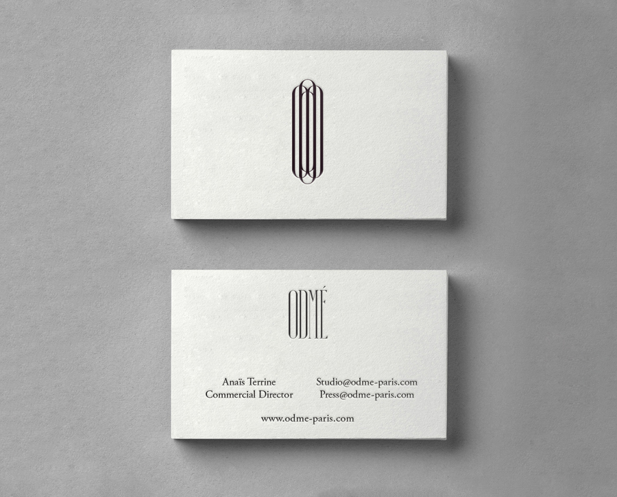 Logo and letterpress business card designed by Two Times Elliott for Paris accessory brand Odmé