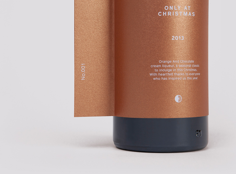 Packaging with metallic copper paper and white ink detail for Christmas gift OAC - Only At Christmas designed by Believe In