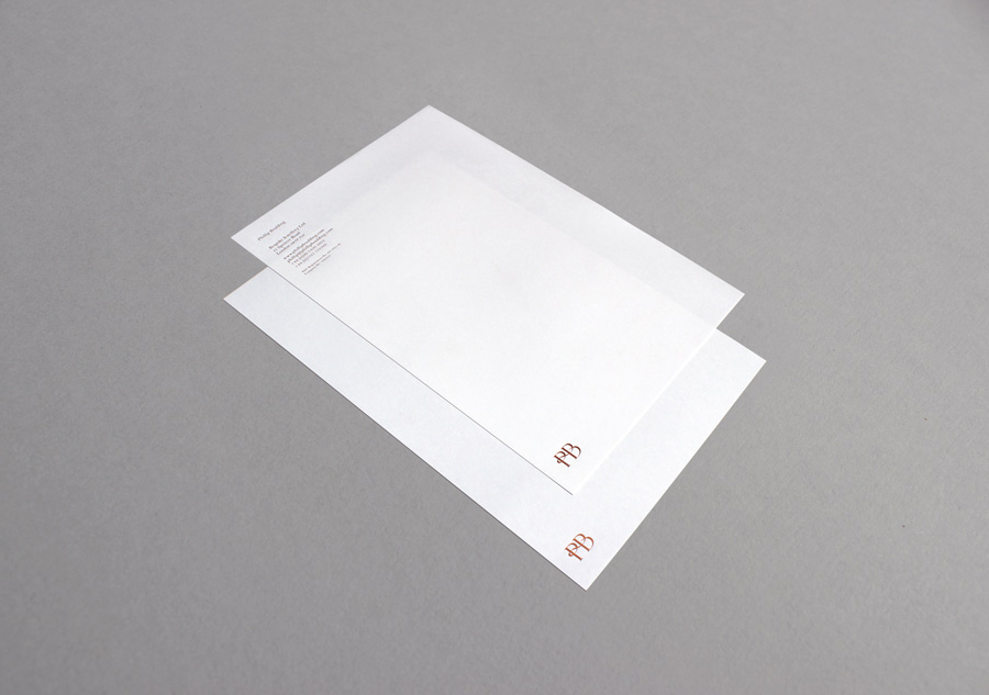 Logo and headed paper with copper foil detail designed by Stylo for jewellers Phillip Boulding