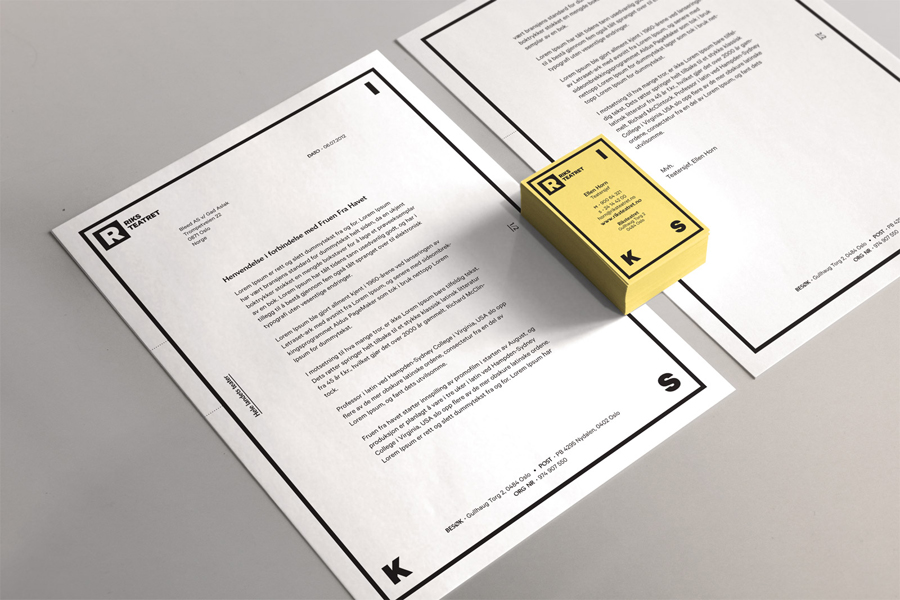 Logo and stationery design by Bleed for Norway's national touring theatre Riksteatret
