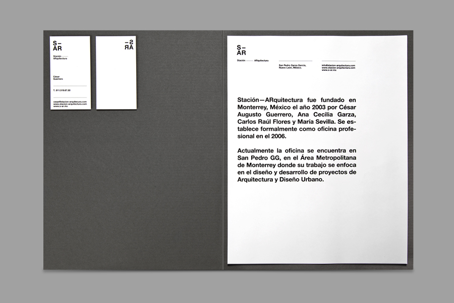 Logo, business card and folder designed by Savvy for architecture and urban design firm Stación-ARquitectura