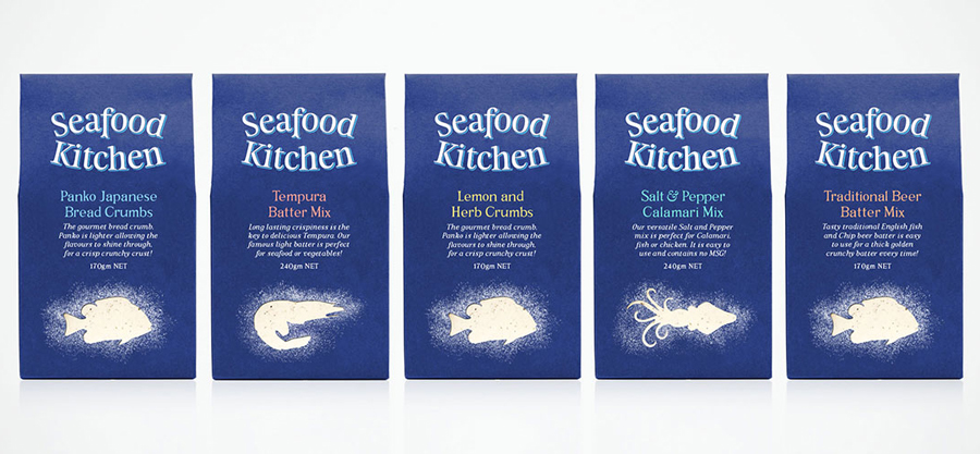 Packaging design by Co Partnership for Seafood Kitchen