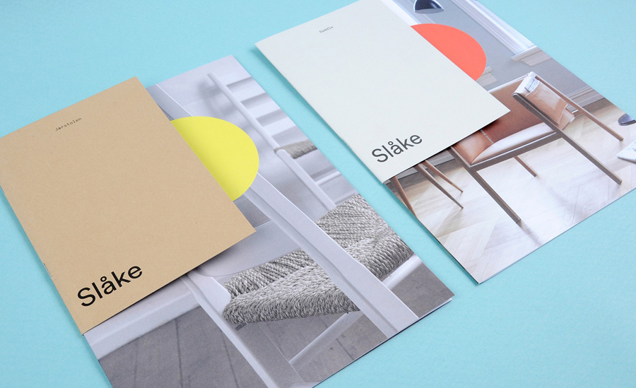 Brand identity and print with bright neon and earthy colour palette for furniture manufacturer Slåke Møbelfabrikk designed by Ghost