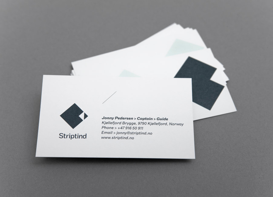 Logo and business card designed by Neue for Norwegian deep sea fishing experience Striptind