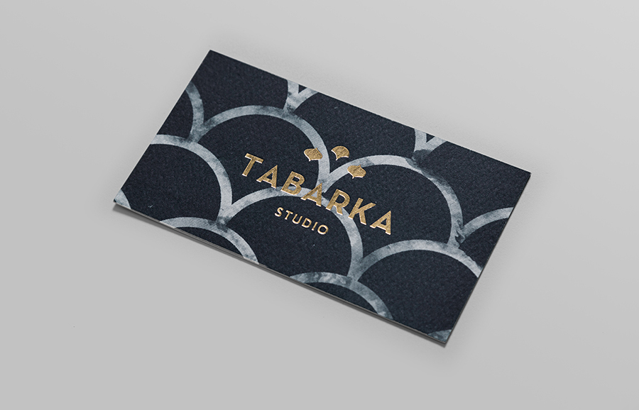 Logo and business card with gold block foil detail designed by Anagrama for handcrafted terracotta tile specialist Tabarka Studio