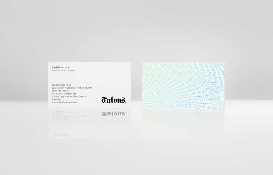 Logo, business card and guilloché pattern work for boutique financial consulting firm Talous designed by Anagrama