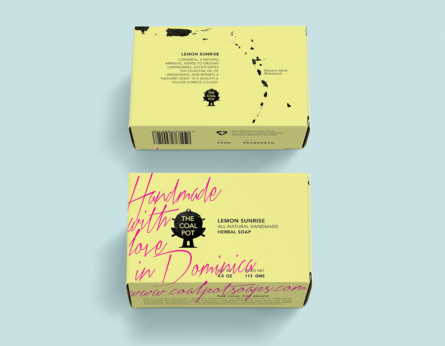 Packaging design by Port Clarendon for handcrafted soap, oil and cream brand The Coal Pot