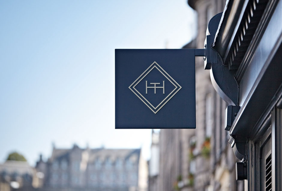 Logo and signage for Edinburgh-based and Parisian-influenced brasserie The Honours designed by Touch