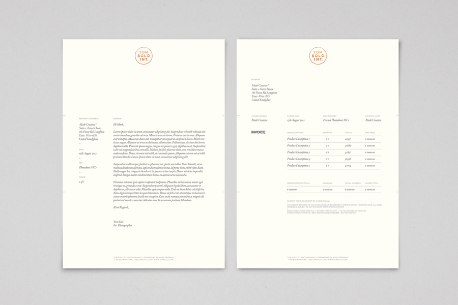 Logo and letterhead with copper foil detail for photographer Tom Solo designed by Mash