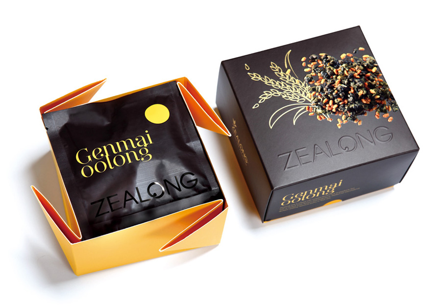 Packaging with UV varnish and blind emboss detail created by Victor Design for Zealong's oolong tea range
