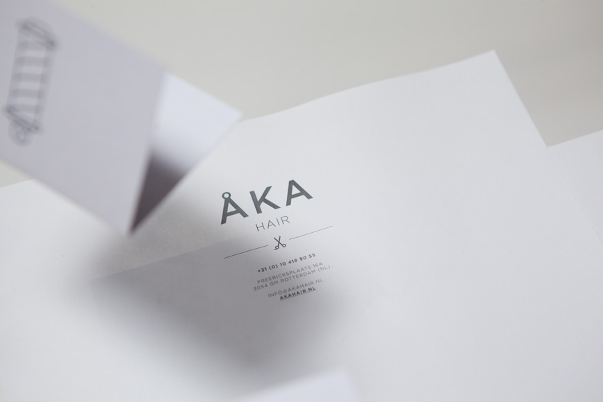 Logo and stationery designed by DC for hair salon ÅKA