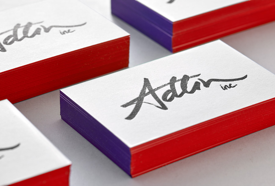 Logo and edge painted business cards by Apartment One for customer-centric business consulting business Adlin Inc