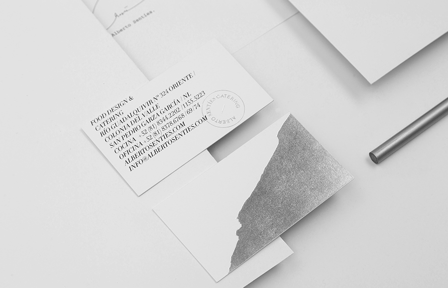 Logo and business cards for Alberto Senties Catering designed by Anagrama