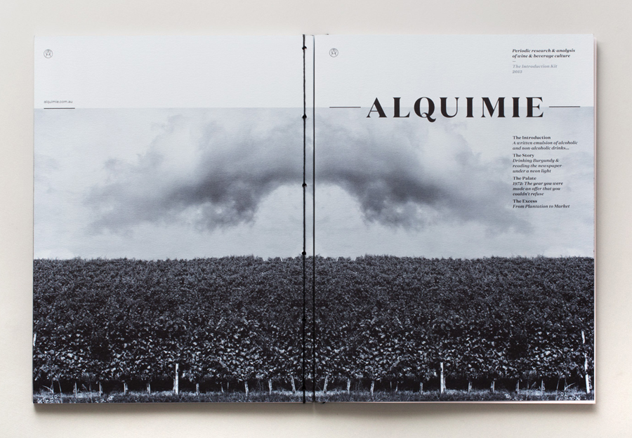 Print with traditional hand-sewn stitch detail designed by ThoughtAssembly for quarterly beverage magazine Alquimie