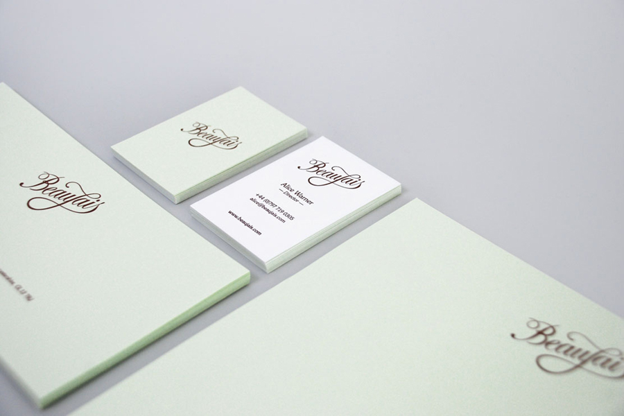 Logo, letterhead, compliment slip and business card designed by Parent for luxury lingerie brand Beaujais