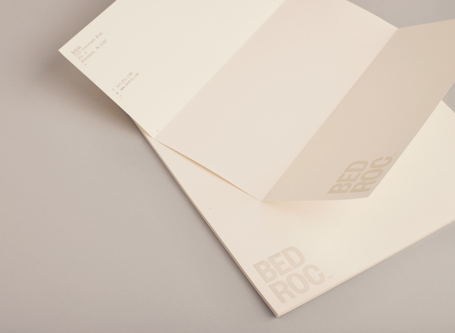 Logo and letterhead for technological consultancy firm Bed Roc designed by Perky Bros