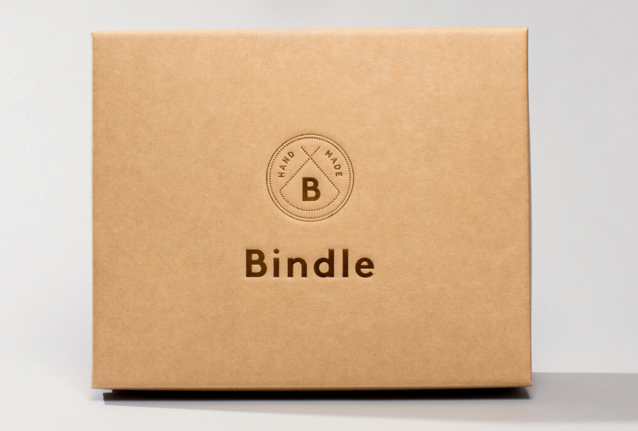 Logo and copper block foil packaging designed by Swear Words for Bindle