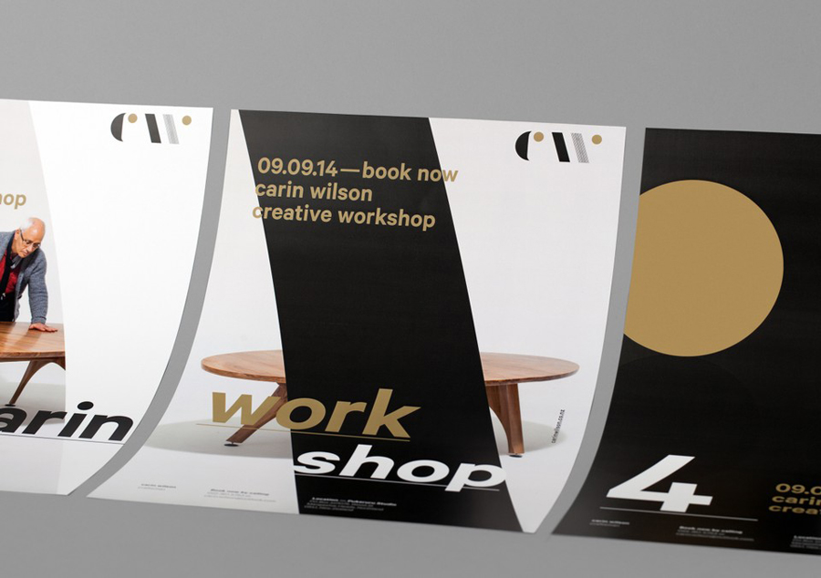 Logo and posters designed by Studio Alexander for furniture maker, sculptor and design educator Carin Wilson