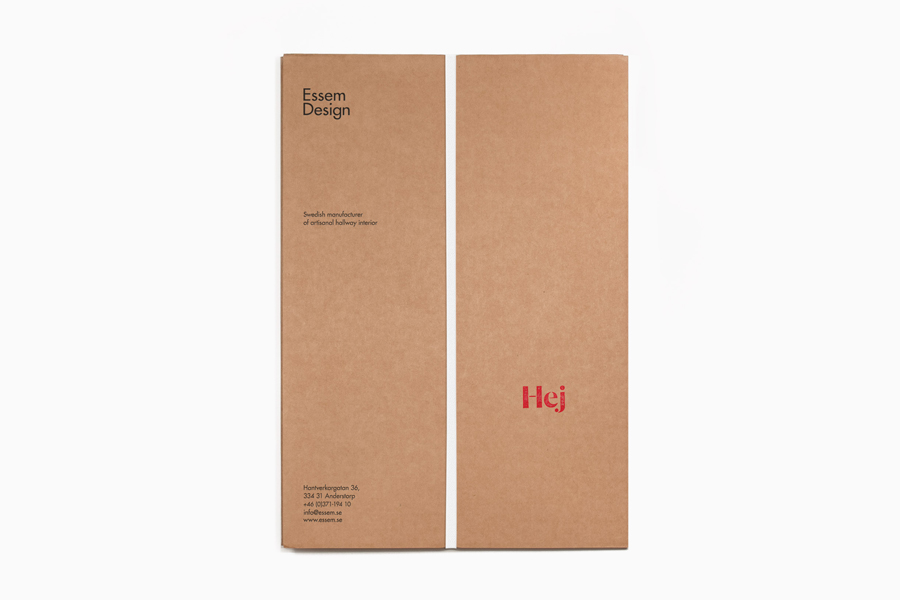 Logotype and uncoated folder designed by Bedow for Essem Design, a Swedish manufacturer of artisanal hallway interiors.