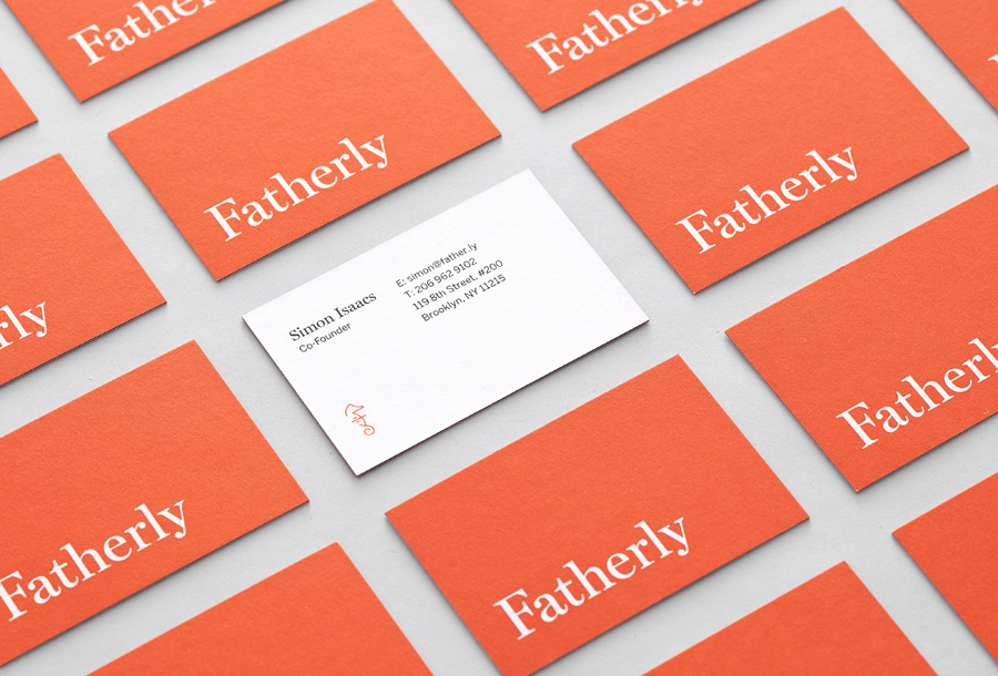 Logotype and business cards designed by Apartment One for dad-centric parenting media platform Fatherly