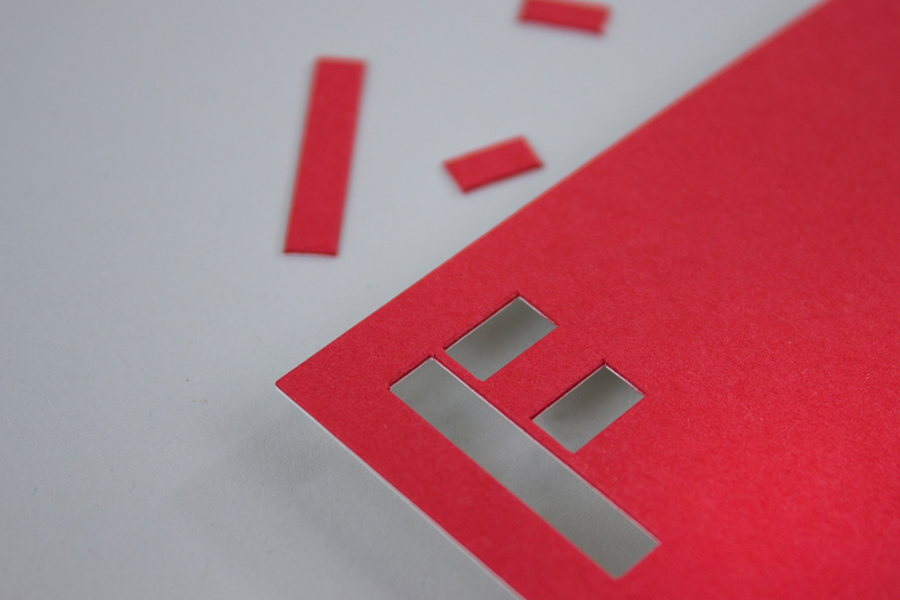 Business card with stencil cut detail created by digital design and branding agency Fieldwork