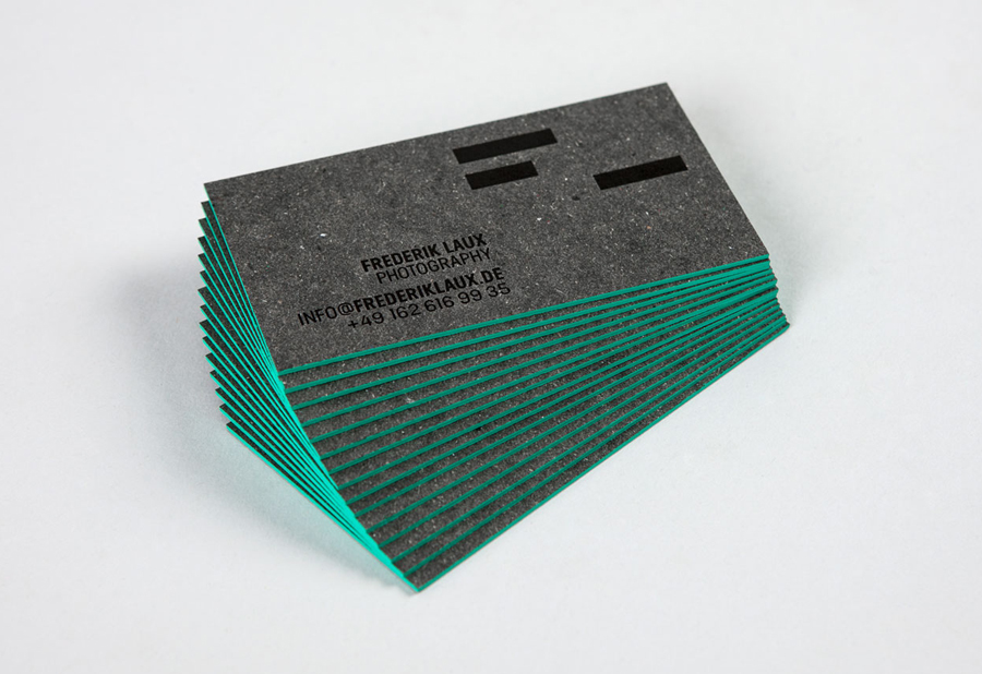 Business cards with hand painted edge detail designed by LSDK for Frederik Laux Photography