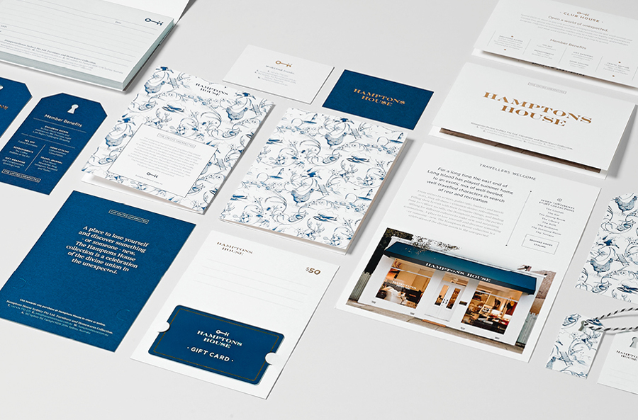 Logo and stationery with gold foil and illustrative detail designed by Moffitt.Moffitt for Sydney furniture and homeware retailer Hamptons House
