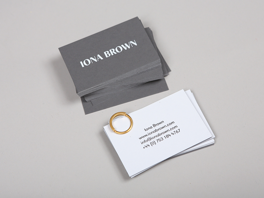 Logotype and duplex Colorplan grey business card with white foil detail for contemporary jewellery designer Iona Brown