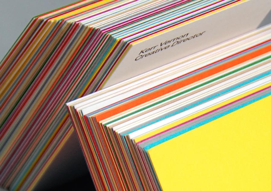 Logo, duplex colorplan and letterpress business cards designed by Kerr Vernon for KVGD