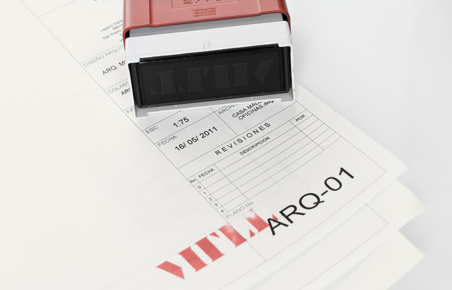 Logo and invoice with red ink stamp detail designed by Anagrama for architecture and landscaping firm MTLL