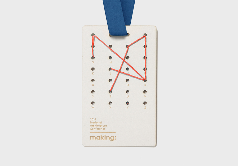 Lanyard designed by Garbett for the Australian Institute of Architects' 2014 conference Making