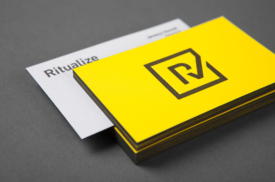 Logo and duplex, edge painted business card by Shorthand for fitness and lifestyle app Ritualize