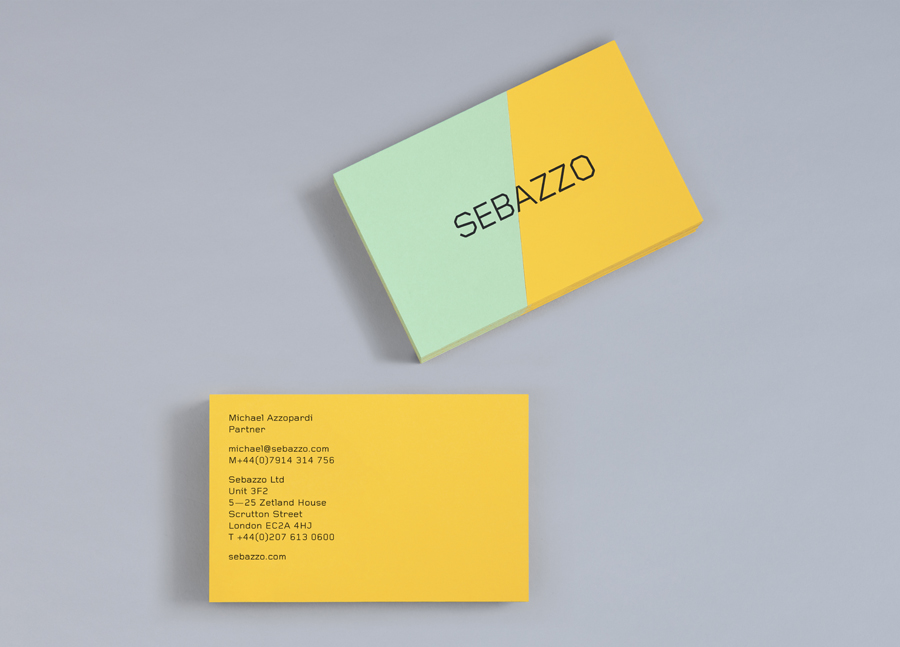 Logo and business card constructed from coloured board using a marquetry technique designed by Bunch for digital design studio Sebazzo