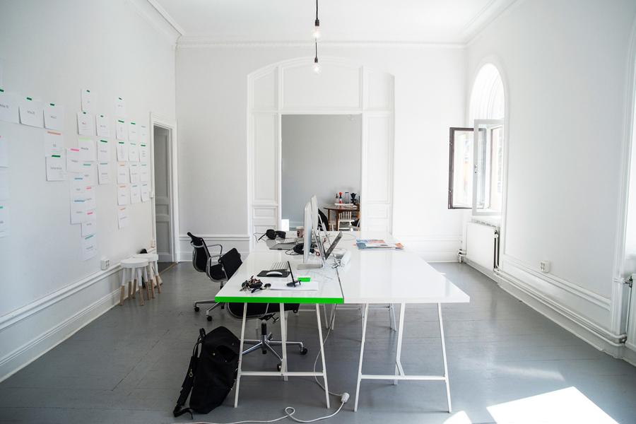 Edge painted work tops created by Bedow for digital experience Studio Källbom