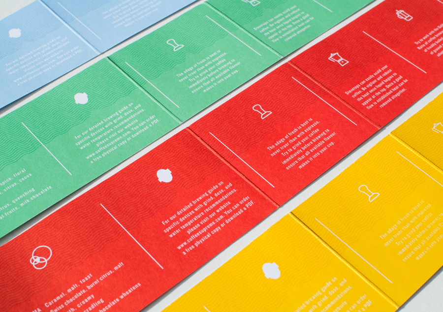 Coloured card labels designed by Marx Design for independent coffee roaster Coffee Supreme