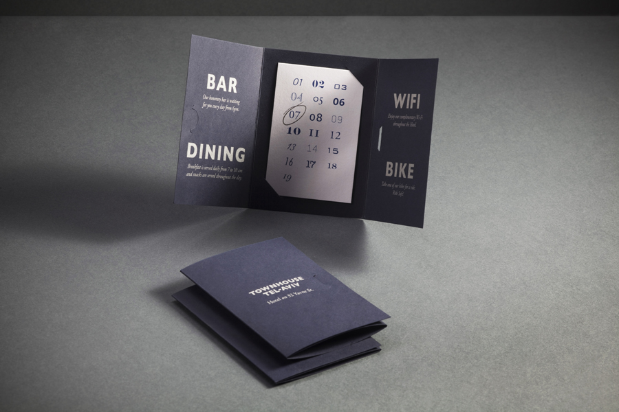 Room and reservation booklet with blue card detail designed by Koniak for Tel Aviv hotel Townhouse