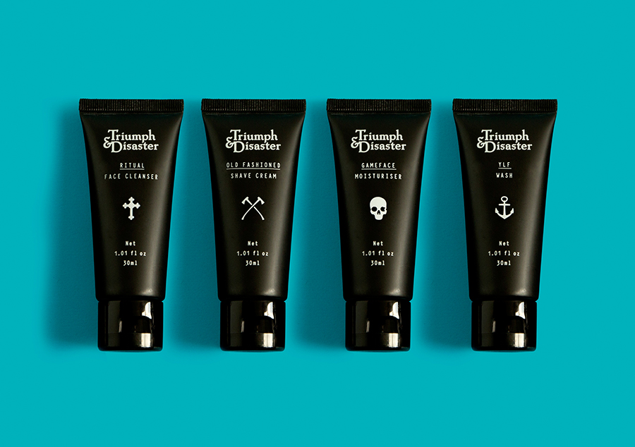 Male grooming and skincare travel packaging for Triumph & Disaster designed by DDMMYY
