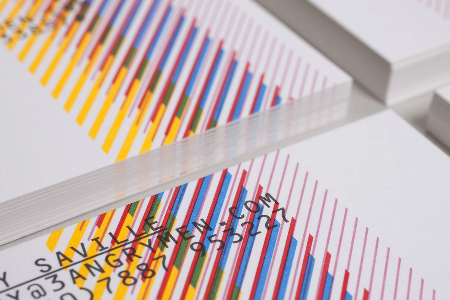Business card design by Build for London based production and digital content company 3angrymen