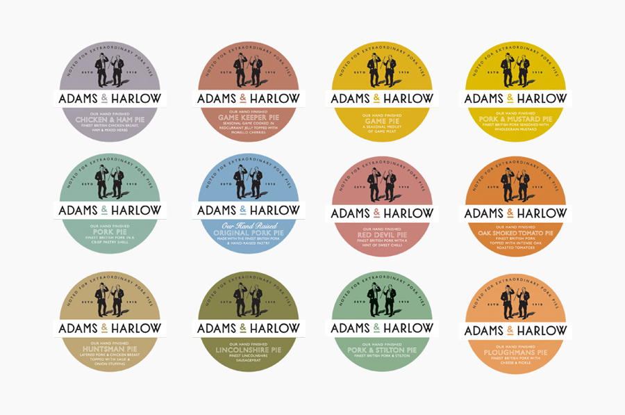 Pastel packaging labels created by Designers Anonymous for Lincolnshire made pork pie brand Adams & Harlow