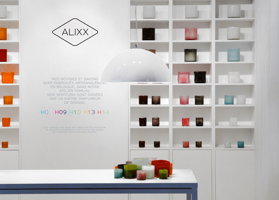 Logo and interior signage designed by Coast for handmade scented candles and soap brand Alixx