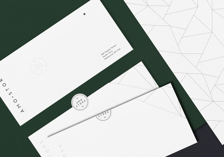 Logo and stationery for Melbourne shoe boutique Amo Store by designed Studio SP–GD