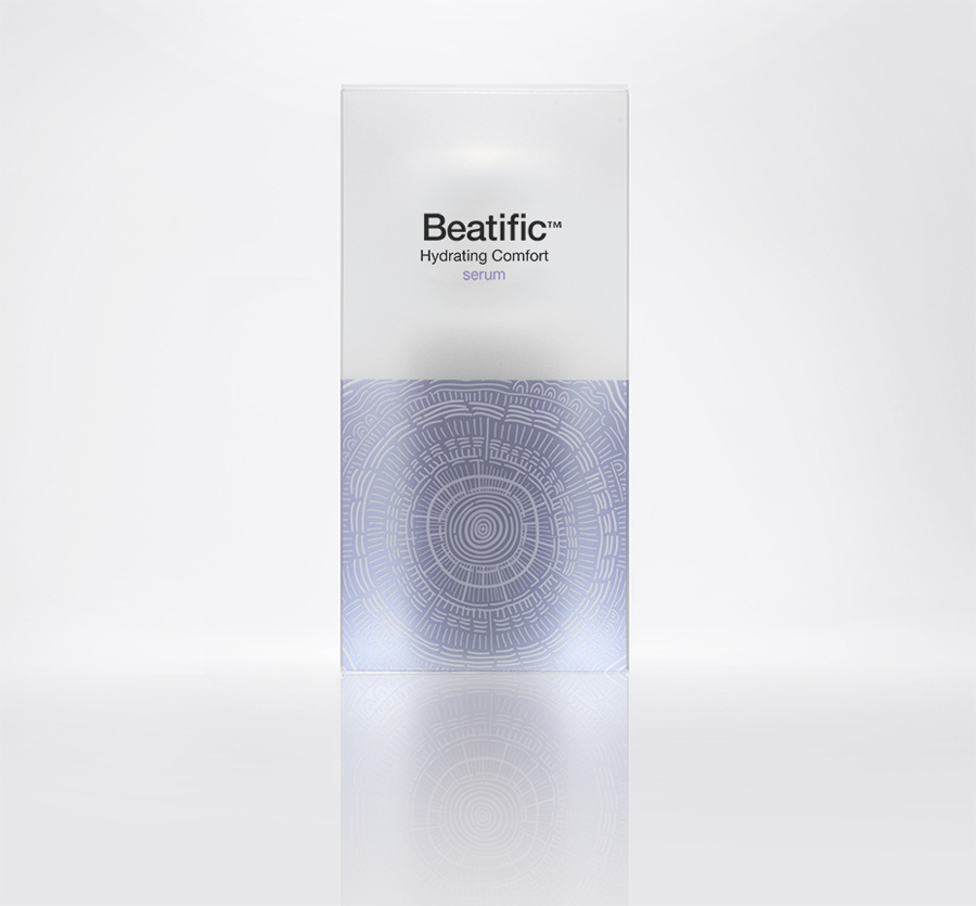 Logo and packaging with frosted plastic and illustrative detail by Mousegraphics for Hygeia Group's new skincare line Beatific