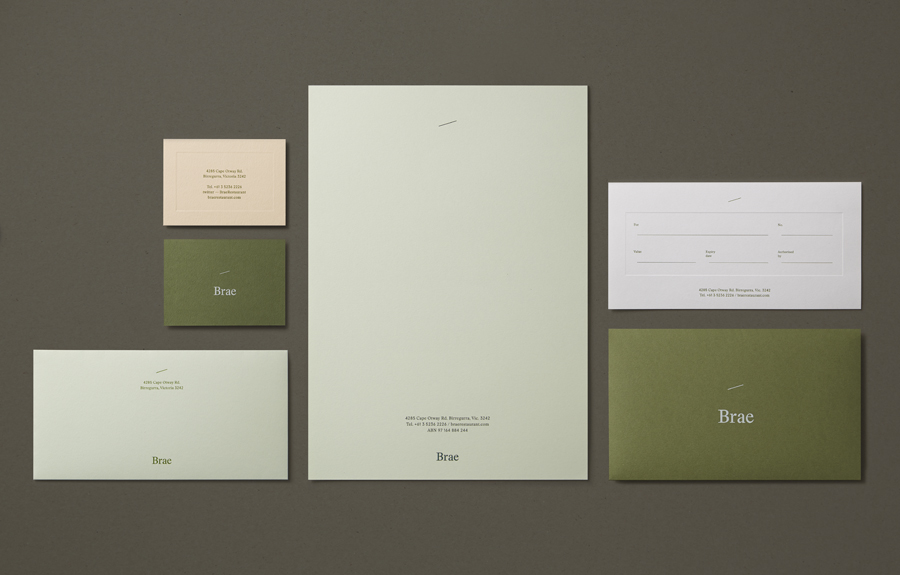 Logotype and stationery with blind deboss and coloured paper detail designed by Studio Round for restaurant Brae