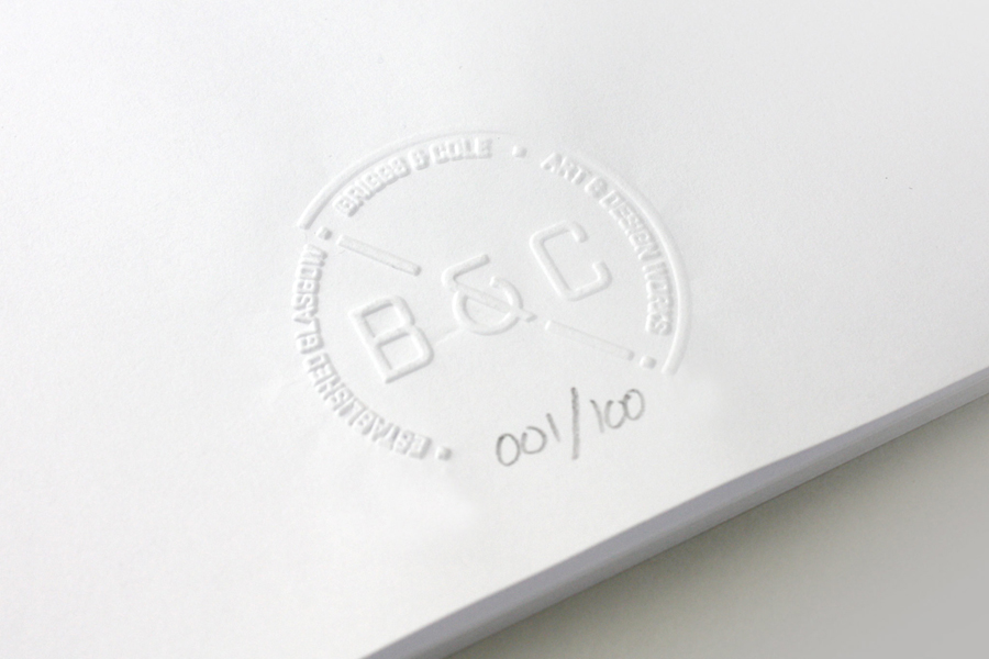 Logo as a blind emboss by Freytag Anderson for art and design partnership Briggs & Cole