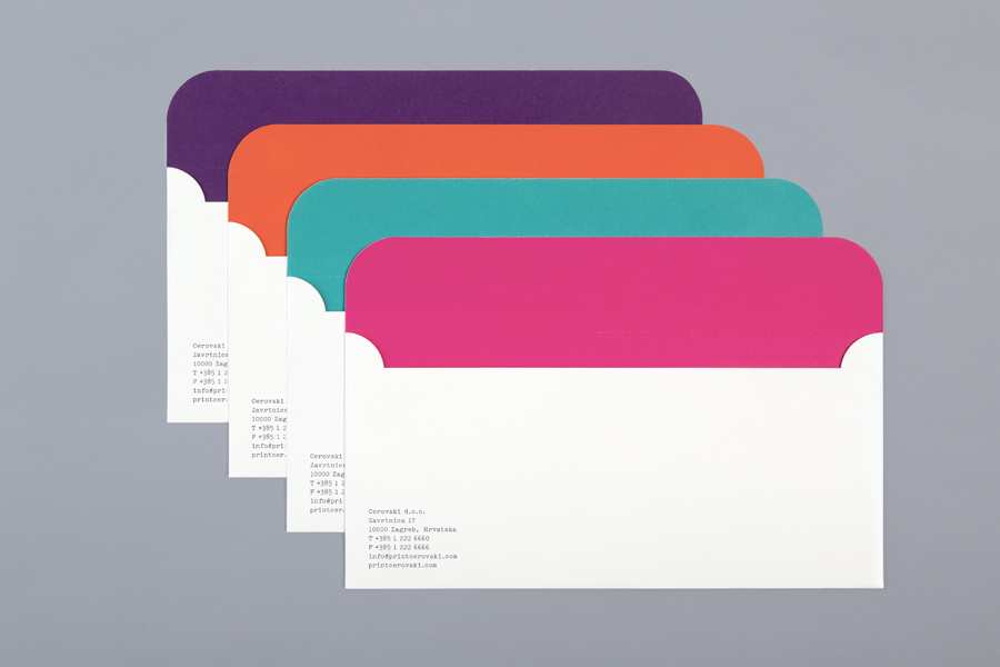 Envelopes for print production studio Cerovski designed by Bunch