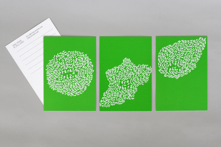 Logo and print with a bright fluorescent spot green print finish designed by Mind for fashion label Feral Sphere